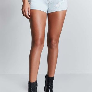 Faded Pinstripe Denim Shorts