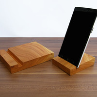 iPad and iPhone stand. 1 x Wooden iPad Stand. 1 x Wooden iPhone stand. Cherry iPad Dock. iPhone wood stand.