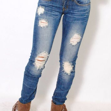 (alx) Medium wash distressed skinny jeans