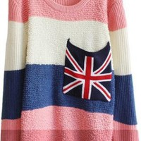 Sweet  Striped Sweater with Plaid Pocket S005574