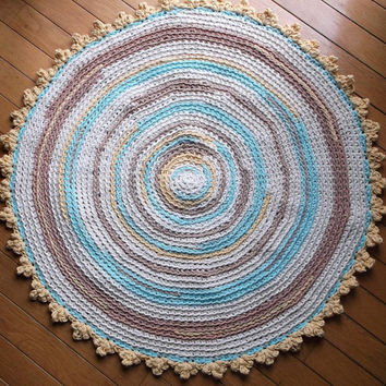 "Robins Egg Blue, Yellow, Taupe, Off White Crochet Cotton Rug 30"" READY TO SHIP"