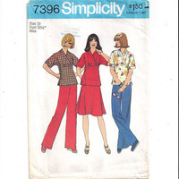Simplicity 7396 Pattern for Misses' Pullover Top, Pants, Skirt, Size 10, From 1976, Vintage Pattern, Home Sewing Pattern, 1976 Fashion