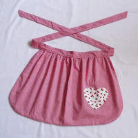 Half apron red cherries with heart pocket