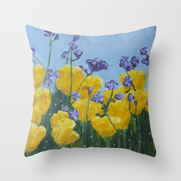 Field of Flowers Throw Pillow by Lindsay