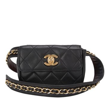 Chanel Vintage Black Quilted Lambskin Iconic Chained Fanny Pack