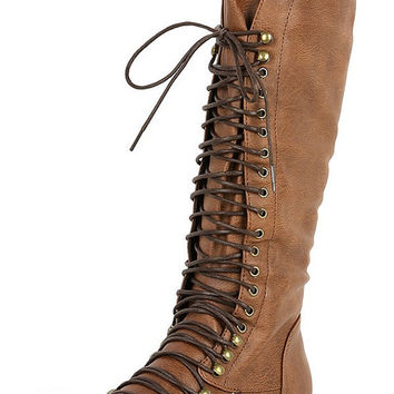 Lace Up Combat Boots For Women. Military Style Boots In Brown (Small/Indie Brands)