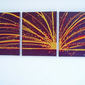 "triptych art 3 panel wall art ""Colour Slats"" 3 panel canvas wall art canvas pop office home abstract contemporary original 27 x 12"""