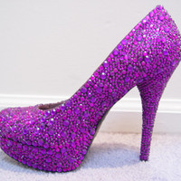 Hand Made Womens Christian Louboutin Style Pink Purple Rhinestone High Heel Shoes