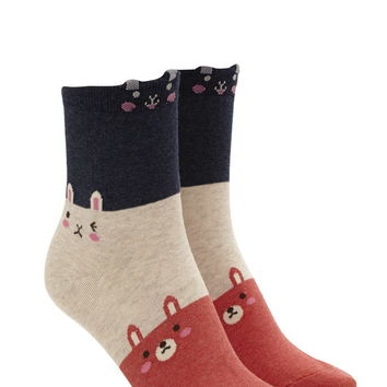 Bunny and Bear Crew Socks | Forever 21 - 2000202937