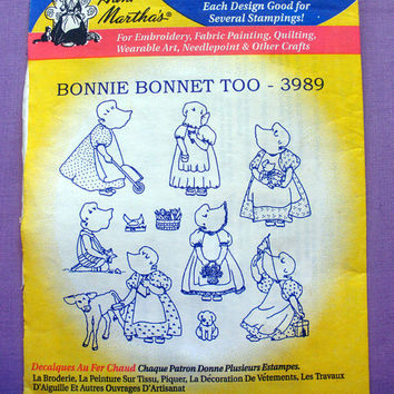 "Aunt Martha's ""Bonnie Bonnet Too"" Hot Iron Transfer Pattern 3989 for Embroidery, Fabric Painting, Needle Crafts"