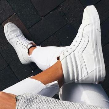 """Vans"" Classic Trending Women Men Casual High Help Flat Sport Shoe Sneakers Full White"