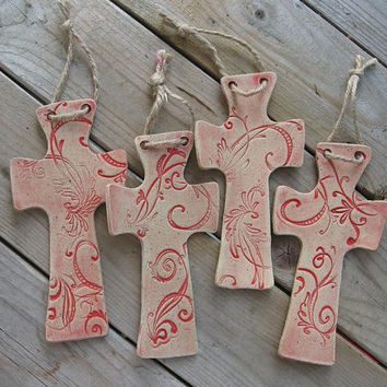 Cross pottery ornament. Red scroll imprints.  Handmade.