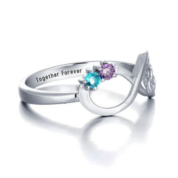 Personalized Double Heart Infinity Birthstone Ring 925 Sterling Silver Cubic Zir