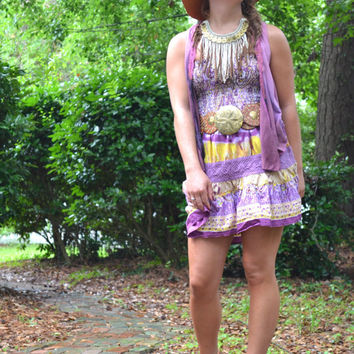 Hippie chic Romper, Vintage jumpsuit, Music festival clothing, Boho chic halter romper, Women's onsie Boho chic clothes True rebel clothing