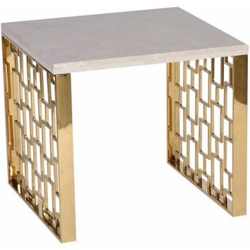Armen Living Skyline End Table with White Top, Gold Metal Base - Walmart.com