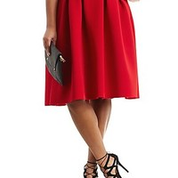 PLUS SIZE PLEATED SCUBA KNIT MIDI SKIRT