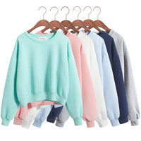 Drop Ship Korean short section kawaii hoodies lovely pink kpop tracksuit loose Ulzzang solid candy colors sport women sweatshirt