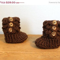 Baby Booties, Brown Crochet Crocodile Baby Slipper Booties