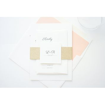 Ivory, Peach and Gold Wedding Invitation - DEPOSIT