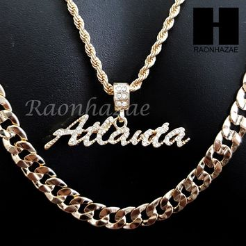 "MEN ICED OUT GOLD STATE ATLANTA GA CHARM CUT 30"" CUBAN LINK CHAIN NECKLACE S88"