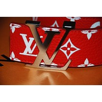 Louis Vuitton LV Supreme Belt Red 90cm AUTHENTIC