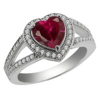 2.41 Ct Heart Shape Red Created Ruby 925 Sterling Silver Ring Sizes 5 to 9