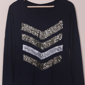 Black Sequined Long Sleeve Blouse