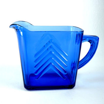 Hazel Atlas Chevron Pitcher in Cobalt Blue Depression Glass