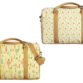 Tree Patterns Printed Oversized Canvas Duffle Luggage Travel Bag WAS_42