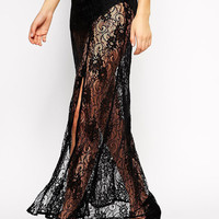 Black Floral Lace Sheer Maxi Skirt