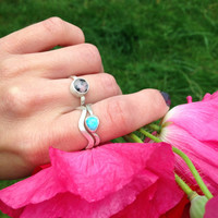 Turquoise wavy band stack ring set, good vibes, minimalist beach ring, sterling silver and handmade, size 7.5