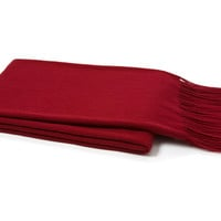 Solid Cashmere Throw, Claret Red, Throws