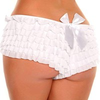 White Ruffle Panty w/Bow By Daisy Corsets