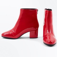 Wide Fit Red Patent Block Heel Ankle Boots | New Look