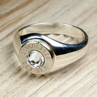 Winchester Solid .925 Sterling Silver Band Nickel Bullet Women's Ring