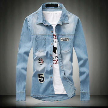 Long Sleeve Rinsed Denim Denim Men Tops Shirt [6542525379]
