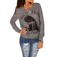 H. GrayBlack California Republic Long Sleeve Top