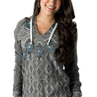 Rock & Roll Cowgirl Women's Grey Aztec Print French Terry Pullover Hoodie