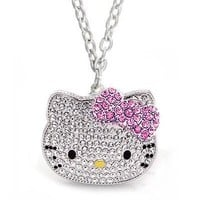 Large Silver Tone Kitty Shimmering Necklace with Pink Bow, Teen Celebrity Pendant