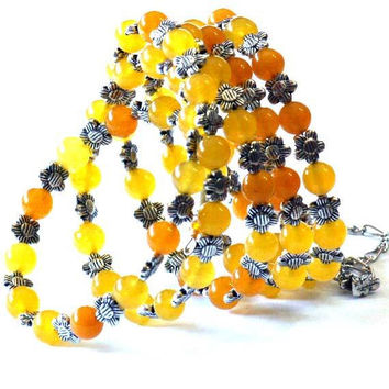 Beaded Wrap Yellow - Orange glass beads Memory Wire Bracelet. Original design. Anniversary gift idea. Multi-layer bracelet - Sunflowers