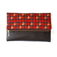 Houndstooth Cluth, Fold over clutch, zippered clutch,