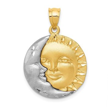 14k Two Tone Gold 20mm Satin Sun and Moon Pendant