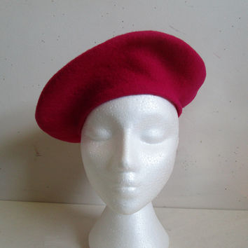 Vintage 1980s Wool Beret Parkhurst Bright Pink 80s Virgin Wool Felt Ladies Hat
