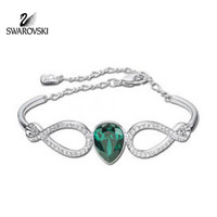 Swarovski Green Emerald & Clear Crystal SHOWBIZ Bangle Rhodium #1157966