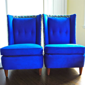 Pair Blue Mid Century Modern Chair, Upholstered Chair, Paul László Chair, High Wingback Chair, Slipper Chair, Hollywood Regency Chair