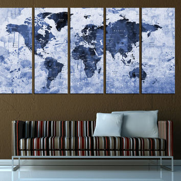 blue world map push pin wall art with countries, ready to hang,  push pin travel map canvas print, extra large wall art  t579