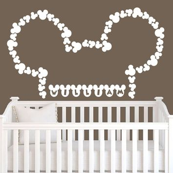 Personalized Custom Girl Boy Name Wall Decal Vinyl Sticker Decals Art Home Decor Murals Lettering Monogram Disney Head Mice Ears Mickey Mouse Childrens Nursery Baby Name Wall Decals AN301