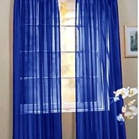 "2 Piece Beautiful Sheer Window Royal Blue Elegance Curtains/drape/panels/treatment 60""w X 84""l"