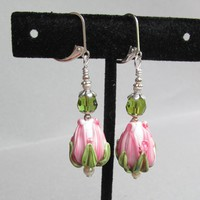 """My Secret Garden"" Artisan Lampwork Glass Bead & Swarovski Crystal Sterling Silver Dangle Earrings, ""Pink Rose Bud"" #157"