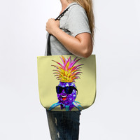NEW! Pineapple Ultraviolet Happy Dude with Sunglasses – Pineapple Hipster – Tote Bags
